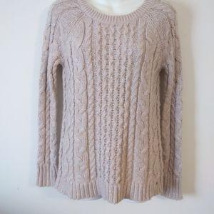 AEO Tan Metallic Chunky Braided Knit Sweater